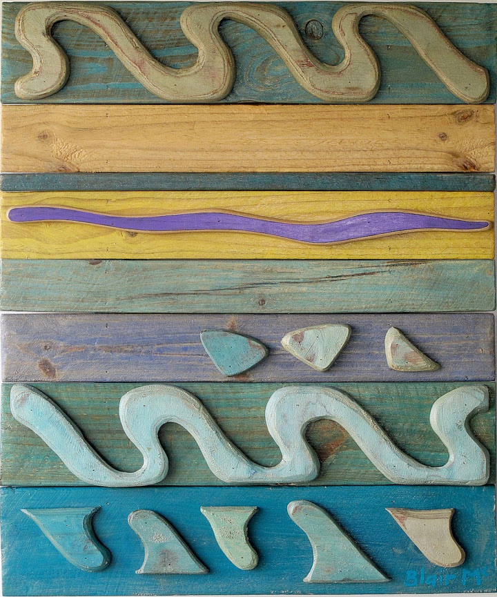 Coral Sea Motif #3 - 830 x 700 x 70mm - painted wood