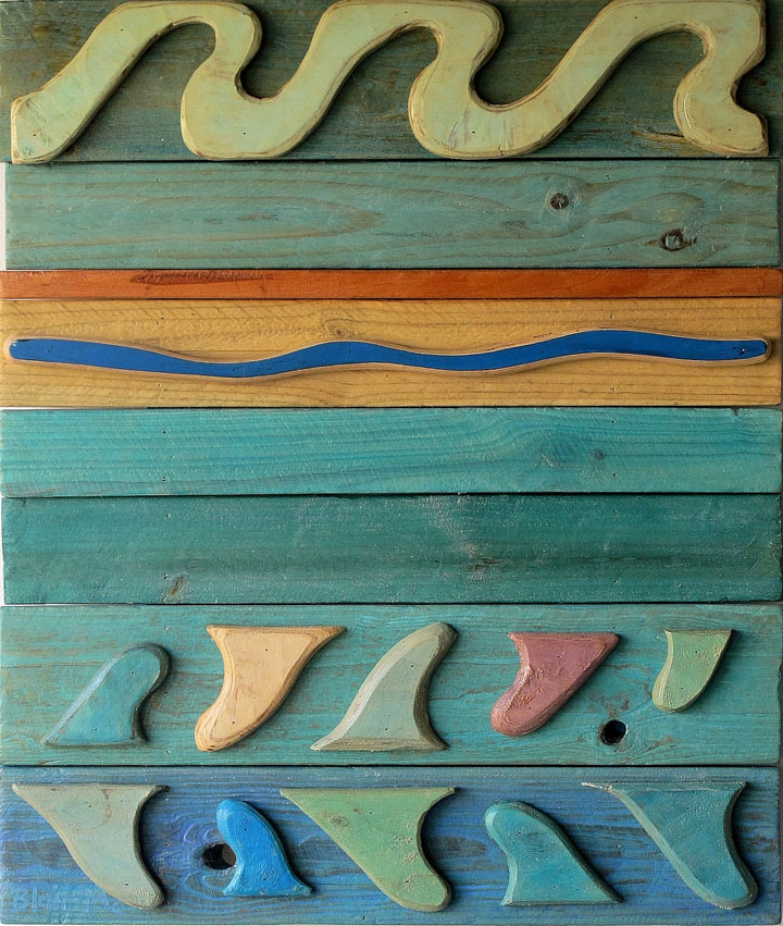 Coral Sea Motif #8 - 830 x 700 x 70mm - painted wood