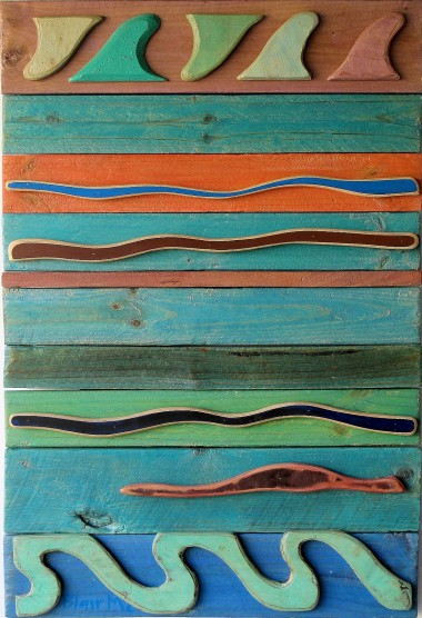 Pacific Motif #3 - 1040 x 700 x 70mm - painted wood