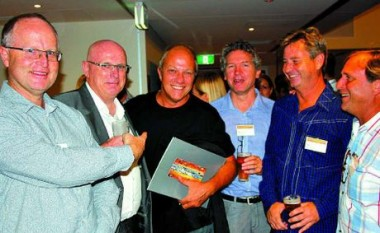 Mark Damant, left, Queensland president Shane Thompson, of Woods Bagot, Dragi Majstorovic, Liam Proberts, left, of bureau proberts, Paul Curran of Push Architects and Blair McNamara at the 2013 Australian Institute of Architects Sunshine Coast Awards presentation at the Mooloolaba Surf Club.